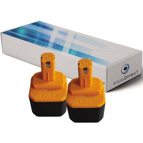Lot de 2 batteries pour Ryobi Paslode BID1240 outillage portatif 3300mAh 12V