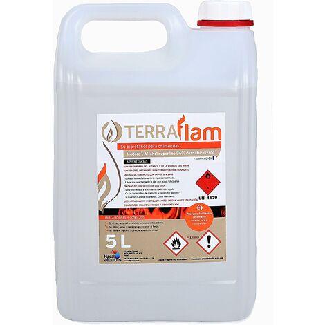 Lot de 2 bidons de bioéthanol pour lampes et cheminées Combustion de grande qualité Ne génère pas de fumée ni d'odeurs Transparent 5 l Terraflam