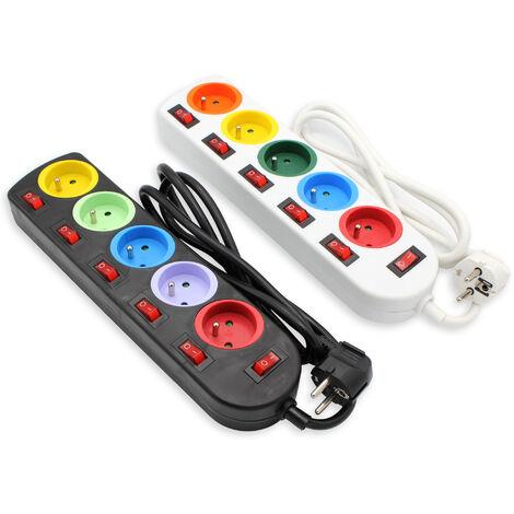 Lot de 2 - Bloc Multiprise Couleur - Interrupteur pour chaque sortie + stickers - Cable 1,5 M - Normes NF