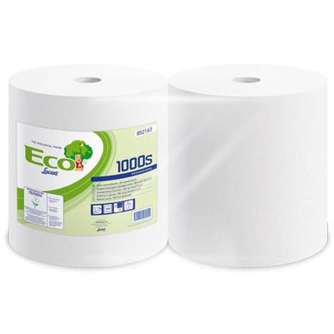 Lot de 2 Bobine d'essuyage blanc recyclé 1000 feuilles 22x30