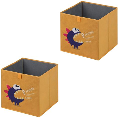 Lot de 2 boites de rangement en tissu jaune MONSTER, cube de rangement pour enfant dim 32 x 32 x 32 cm, décor monstre