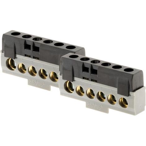 Lot de 2 borniers neutre Noir - 6 connexions - Thomson