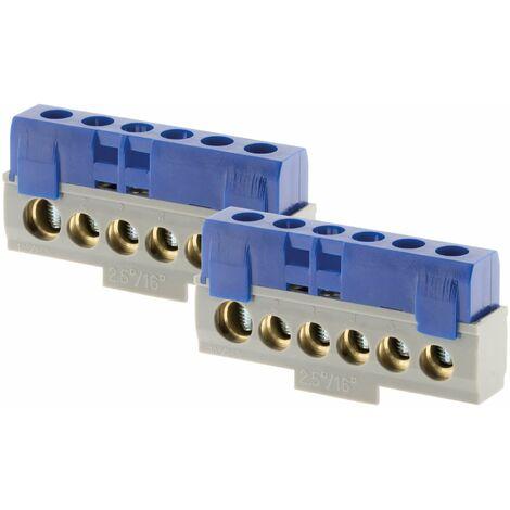 Lot de 2 borniers phase Bleu - 6 connexions - Thomson