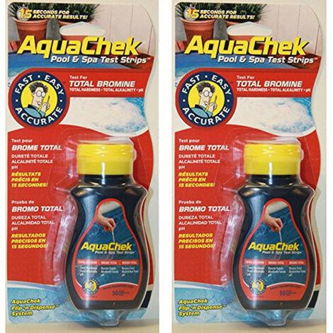 Lot de 2 bouteilles Aquachek Testeur 4 en 1 br+ph+alca+th
