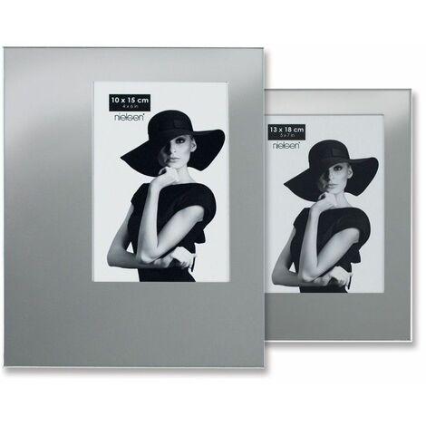 Lot de 2 cadres photo modèle asymétrique format 13 x 18 cm couleur Argent Brillant
