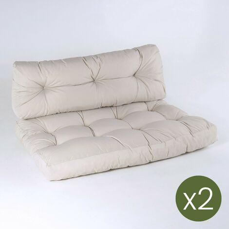 Lot de 2 canapés pour palettes + 2 coussins d'assise 80x120x16 cm + 2 coussins dossier 42x120x16 cm   Couleur de la pierre   Résistant à l'eau