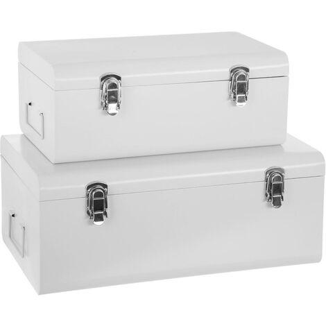 Lot de 2 cantines métal blanches forme valise - Blanc
