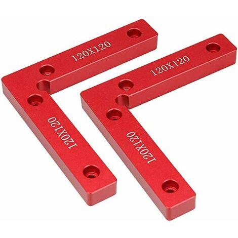 Lot de 2 carrés de positionnement 90 degrés 11,9 x 11,9 cm en alliage d'aluminium, équerre de serrage d'angle à angle droit pour le travail du bois