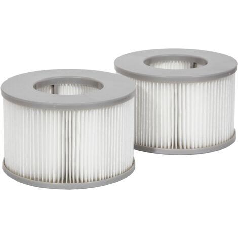 Lot de 2 cartouches filtrantes avec filet pour spa gonflable MSPA - Blanc