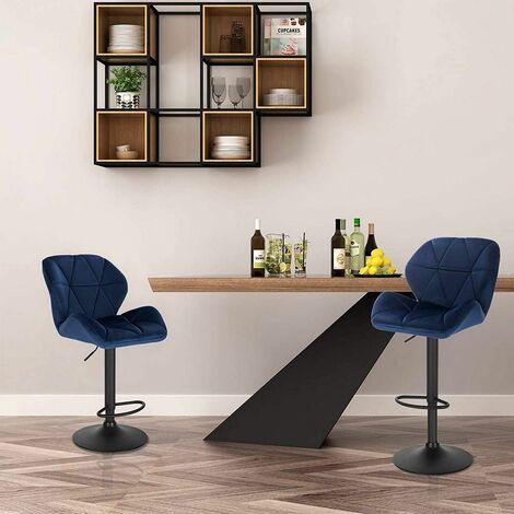 Lot de 2 chaise de bar & métal velours, bleu modèle