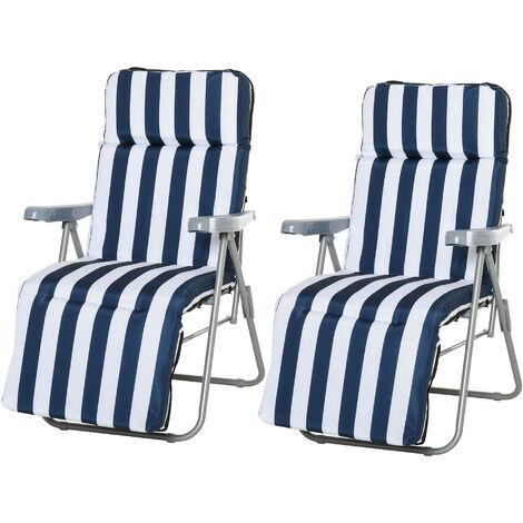 Lot de 2 chaise longue bain de soleil adjustable pliable transat lit de jardin en acier bleu + blanc