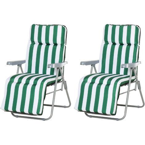 Lot de 2 chaise longue bain de soleil adjustable pliable transat lit de jardin en acier vert + blanc