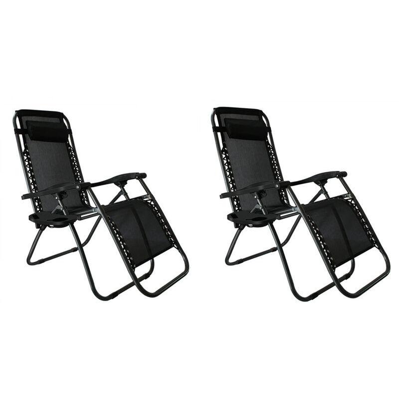 Lot de 2 Chaise Longue de Jardin de Camping avec Dossier Réglable Transat Pliable Noir