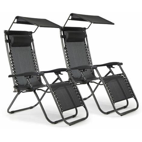 Lot De 2 Chaise Longue Inclinable, Chaise De Jardin Pliable Avec Pare-Soleil , Support De Gobelet Amovible, Confortable,Noir- Intimate Wm Heart