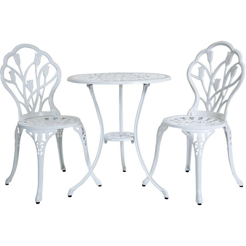 Lot de 2 chaises, 1 table tulipes - jardin style bistro - alu moulé - blanc