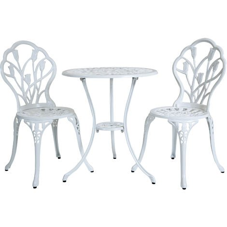 Lot de 2 chaises, 1 table tulipes - jardin style bistro - alu moulé ...