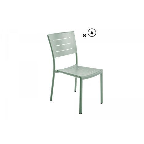 Lot de 2 chaises aluminium empilable coloris romarin