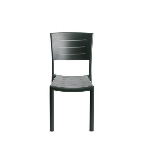 Lot de 2 chaises aluminium empilable inari coloris carbone