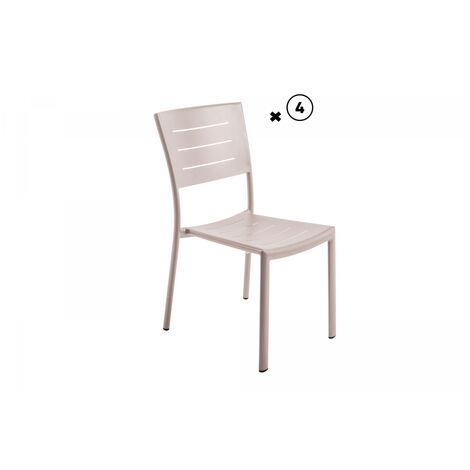 Lot de 2 chaises aluminium empilable inari coloris muscade