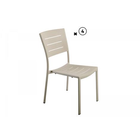 Lot de 2 chaises aluminium empilable inari sable