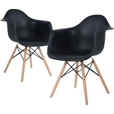 Lot de 2 Chaises avec Accoudoirs Moda Romano - Design Scandinave - Pieds en Bois - Salle à Manger, Salon, Cuisine