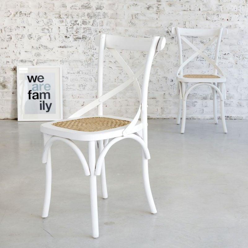 Chaise bistrot en bois d'acajou et rotin (lot de 2) - Blanc