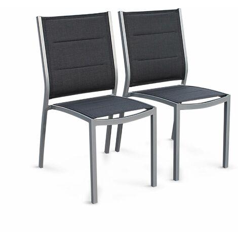 Lot de 2 chaises Chicago / Odenton en aluminium et textilène gris empilables