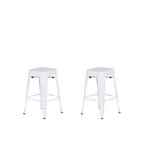 Lot de 2 chaises de bar 61 cm blanc