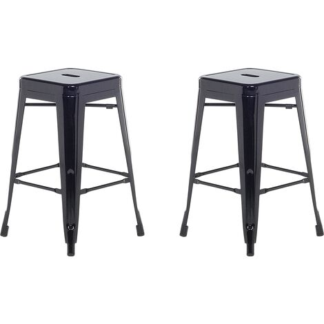 Lot de 2 chaises de bar 61 cm noir