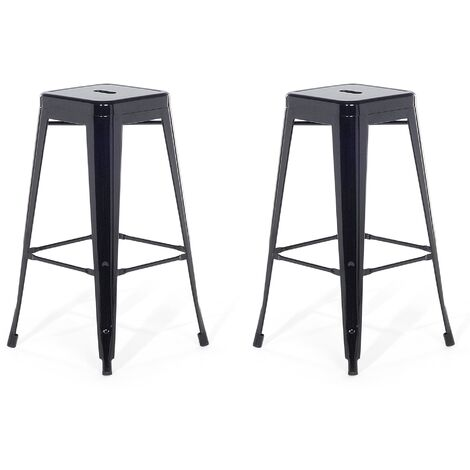 Lot de 2 chaises de bar 76 cm noir