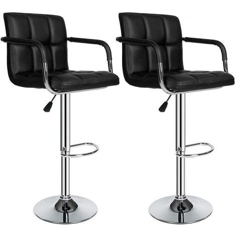 Lot de 2 Chaises de Bar avec Accoudoirs Pivotantes et Réglables en Hauteur 86.5 cm - 107.5cm Noir