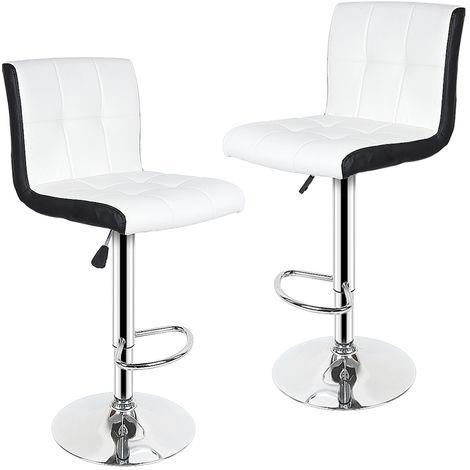 Lot de 2 chaises de bar blanc noir tabourets de bar maison