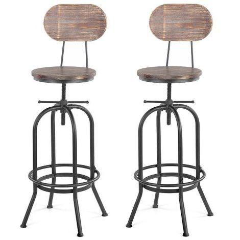 Lot de 2 chaises de bar de style industriel en bois réglable en hauteur, lot de 2 tabourets de bar, tabouret de bar industriel bois -IKAYYA