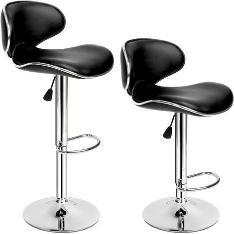 Lot de 2 Chaises de Bar Design Dossier Rembourré Pivotantes et réglables en Hauteur 84 cm - 105 cm Noir