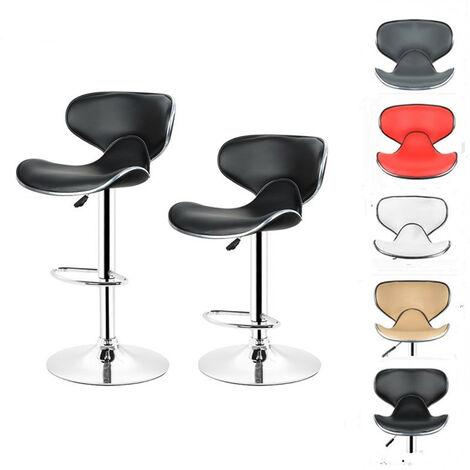 Lot de 2 Chaises de Bar Design Dossier Rembourré Pivotantes et Réglables en Hauteur 85 cm - 105 cm