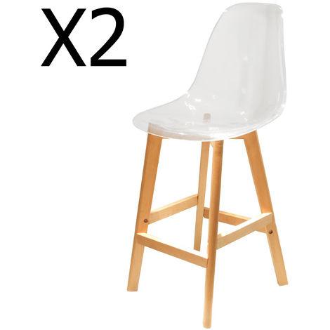 Lot de 2 chaises de bar en bois et Acrylique coloris transparent - Dim : H 109 x L 46.7 x P 48.5 cm