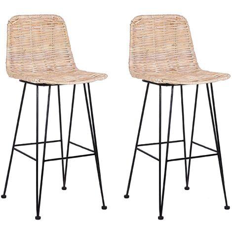 Lot de 2 chaises de bar en rotin beige CASSITA