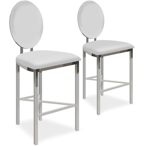 Lot de 2 chaises de bar médaillon Sofia Simili Blanc - Blanc