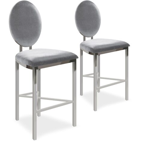 Lot de 2 chaises de bar médaillon Sofia Velours Argent - Argent