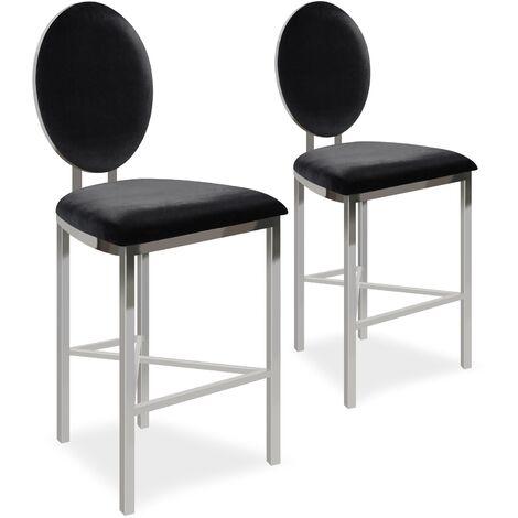 Lot de 2 chaises de bar médaillon Sofia Velours Noir - Noir