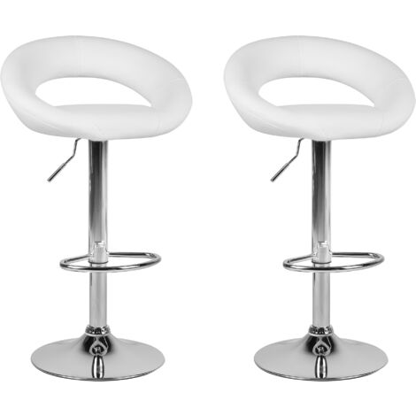 Lot de 2 chaises de bar moderne en simili cuir blanc