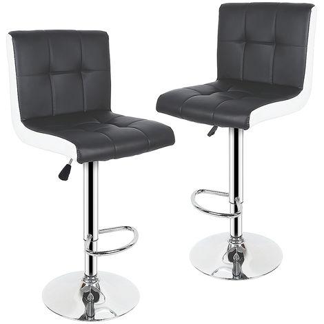 Lot de 2 chaises de bar noir blanc tabourets de bar maison