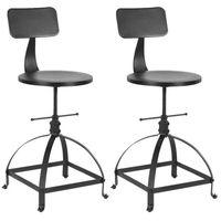 Lot de 2 chaises de bar noire de style industriel réglable en hauteur, tabouret de bar en bois - iKayaa