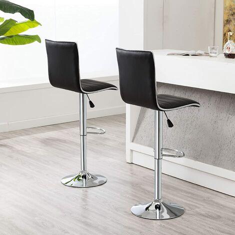 Lot de 2 Chaises de Bar Pied en Métal Pivotantes et Réglables en Hauteur 55 cm - 75 cm Noir