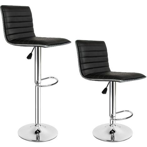 Lot de 2 Chaises de Bar Pied en Métal Pivotantes et réglables en Hauteur 60 cm - 81 cm Noir