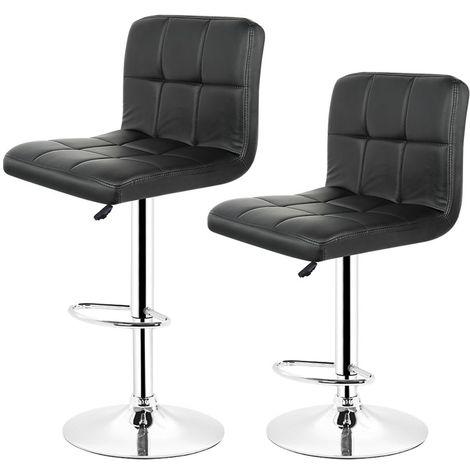 Lot de 2 Chaises de Bar Pour Salon Moderne, Noir Tabouret Reglable et Pivotant