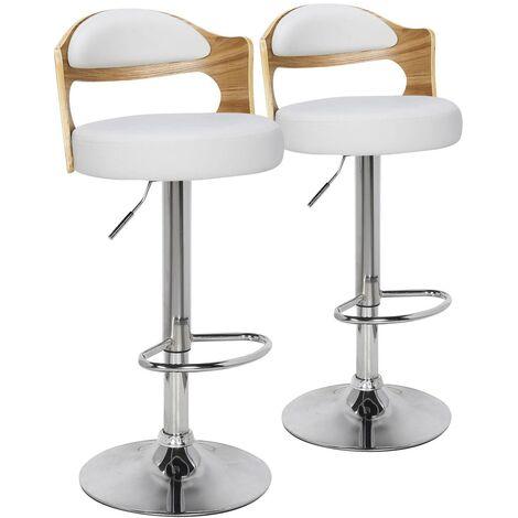 """main image of """"Lot de 2 chaises de bar Ruben Bois Noisette & Blanc - Noir"""""""
