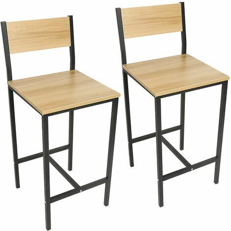 Lot de 2 Chaises de Bar, Tabourets Hauts de Style Industriel, pour Cuisine, Salle à Manger, Salon - Couleur du bois