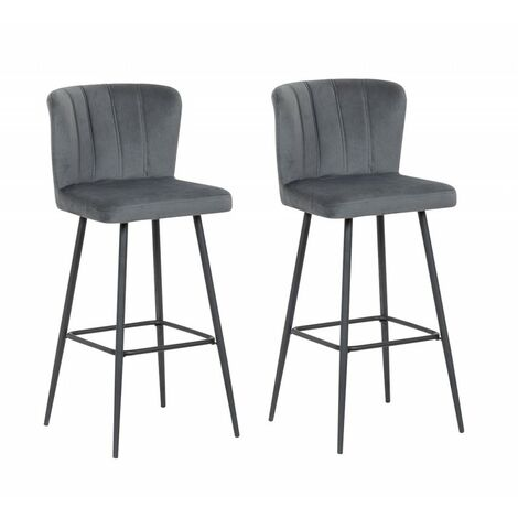 Lot de 2 Chaises de bar velours gris et pieds métal noir - design scandinave vintage - SPRING - Gris