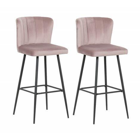 Lot de 2 Chaises de bar velours rose et pieds métal noir - SPRING - Rose poudré, Parme